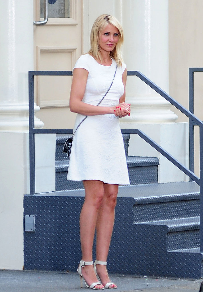 A little white dress like the one Cameron Diaz donned on the set of her new movie is the ultimate way to beat the Summer heat. Add a crossbody bag and ankle-strap sandals to finish.