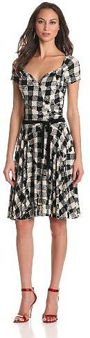 KAMALIKULTURE Women's Short Sleeve Sweetheart Flair Dress