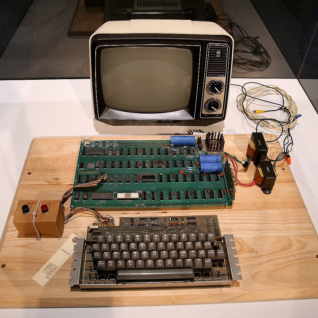 A 1976 Apple I computer was displayed for an online auction of vintage tech products in Mountain View, CA.