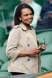 Condoleezza Rice took in a match at Wimbledon on Monday.
