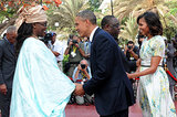 In June, President Obama and First Lady Michelle were greeted by Senegal's President Macky Sall and his wife, Marieme Faye, at the presidential palace in Dakar.