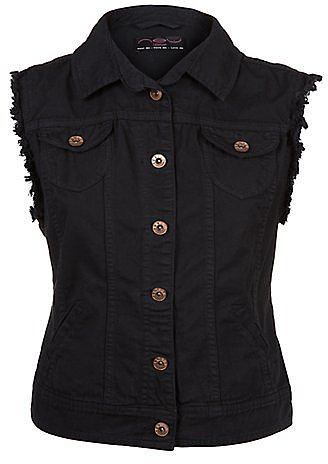 Black Sleeveless Denim Jacket
