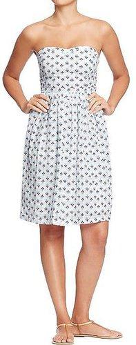 Women's Printed-Metallic Tube Dresses