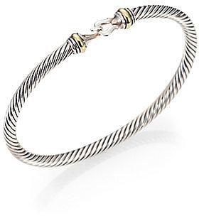 David Yurman Sterling Silver & 18K Gold Bangle Bracelet