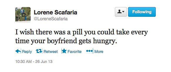 @LoreneScafaria needs a hungry-boyfriend diet plan.