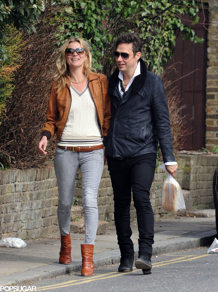 Kate Moss and Jamie Hince shared a laugh while walking through their London neighborhood in March 2012.