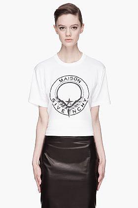 GIVENCHY White Maison Givenchy Shield print T-Shirt