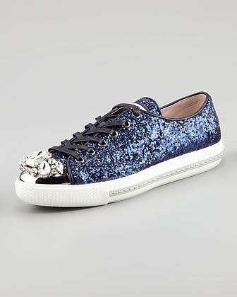 Miu Miu Jeweled Cap Toe Sneaker