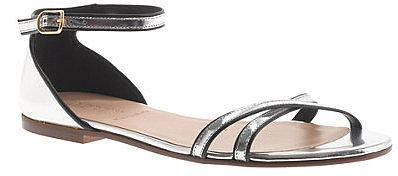 Elsa piped metallic sandals