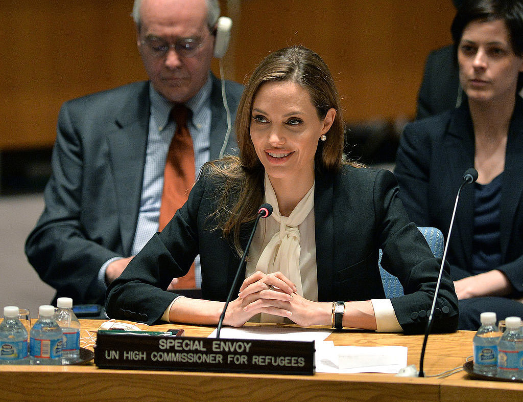 Angelina Jolie took the mic at the United Nations Security Council at UN headquarters in New York on June 24, to fight for an investigation into war-zone rapes in countries in conflict.