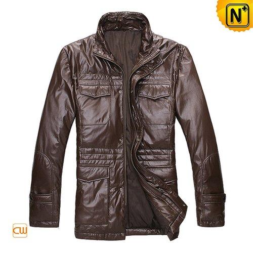 Mens Leather Down Jacket CW872199 - cwmalls.com