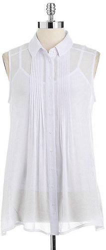FEVER Sleeveless Pleated-Front Blouse