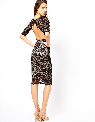 Elise Ryan Open Back Midi Dress in Lace