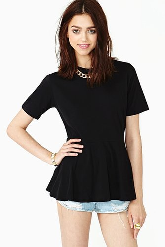 Lisa Peplum Tee - Black