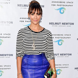 Rashida Jones Wearing Blue Skirt at Helmut Newton Exibit