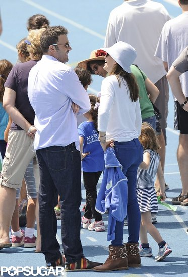 In April 2013, Ben Affleck and Jennifer Garner chatted during a track meet in LA.