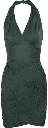 Halston Heritage Ruched stretch-crepe jersey dress
