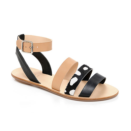 When you're five feet 11 inches and running around the city, a good flat sandal's a must! But no matter what your height (or daily activity level), you'll be walking tall in Loeffler Randall's mixed material pair ($225). — Randy Miller