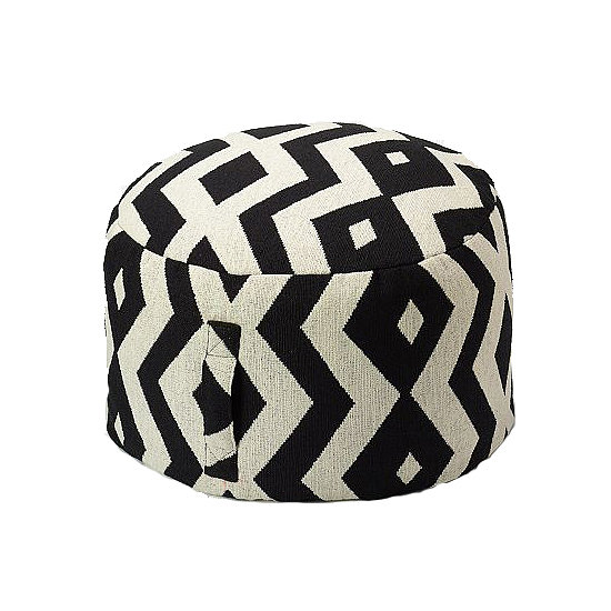 While this patterned pouf ($70) offers extra seating outdoors, it's also perfect in a media room!