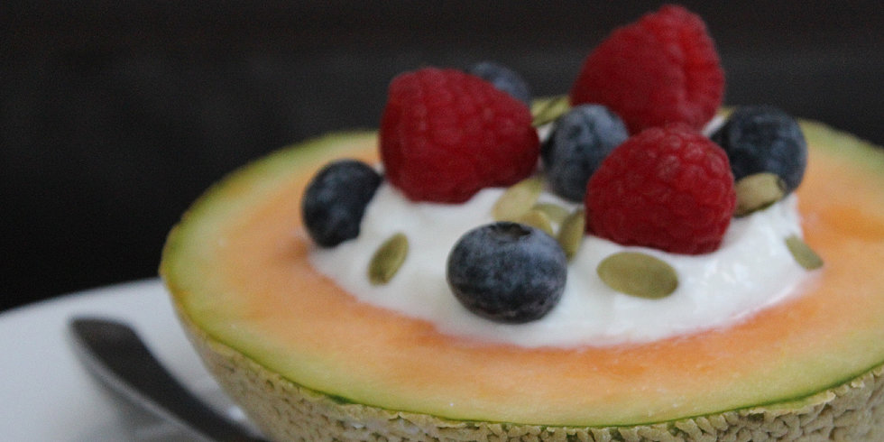 Breakfast Idea: Yogurt-Filled Cantaloupe Bowl