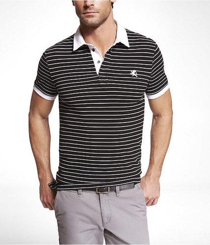 Fitted Fine Stripe Pique Polo
