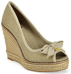 Tory Burch - Jackie - Gold Canvas Espadrille Wedge