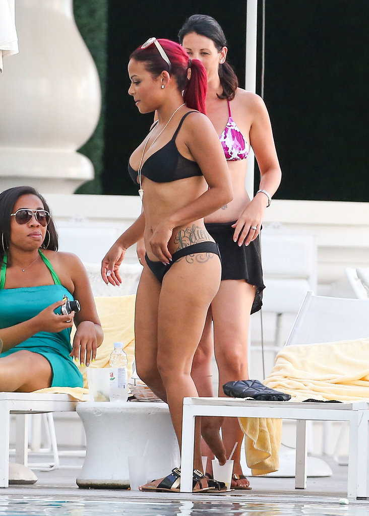 Christina Milian ditched her cover-up by the pool.