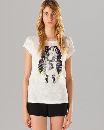 Maje T Shirt - Camomille Jeweled Graphic