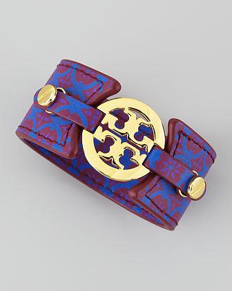 Tory Burch Logo Double-Snap Cuff, Purple