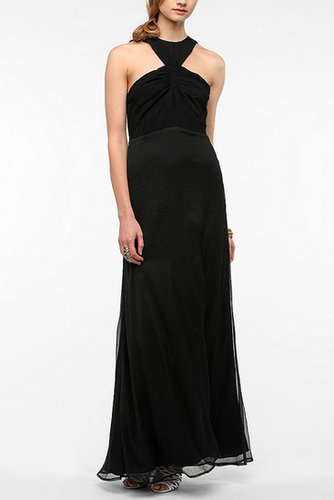 KNT By Kova & T Chiffon Carved-Neck Maxi Dress