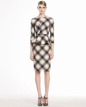 GUCCI Check Flannel Flounce Dress