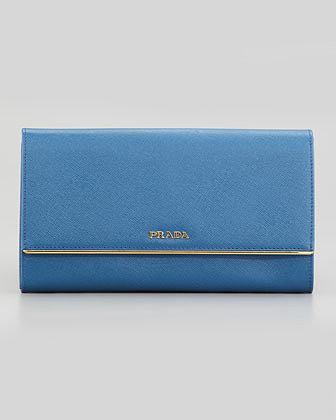 Prada Full Flap Continental Wallet & Organizer, Bright Blue