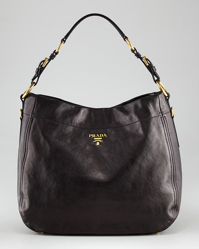 Prada D-Ring Glace Leather Hobo Bag