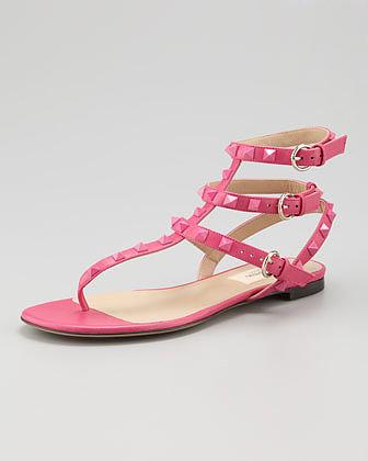 Valentino Rockstud Ankle-Wrap Sandal, Fuchsia