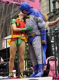 Two men dressed up as Batman and Robin kissed during the NYC Gay Pride Parade on Sunday.