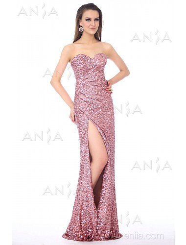 Sheath Column Pink Sweetheart Sequin Evening Dress F22391