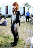 Even offstage, Florence Welch looked every part the rockstar in a fringed jacket.