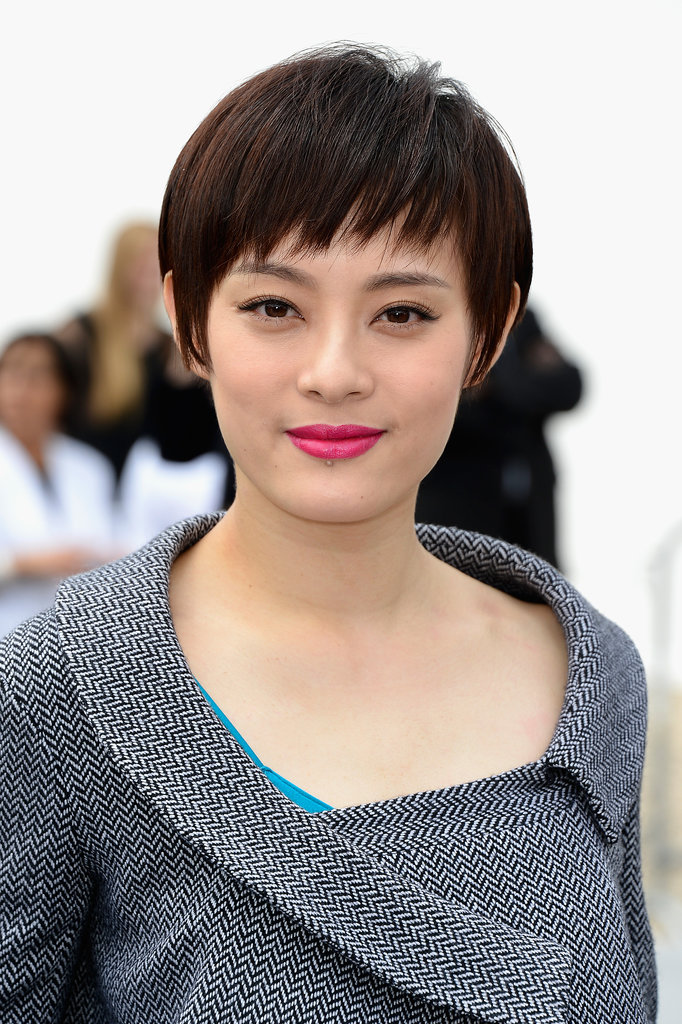 Pink lips and a piecey pixie cut were Sun Li's choices at the Dior Haute Couture show.