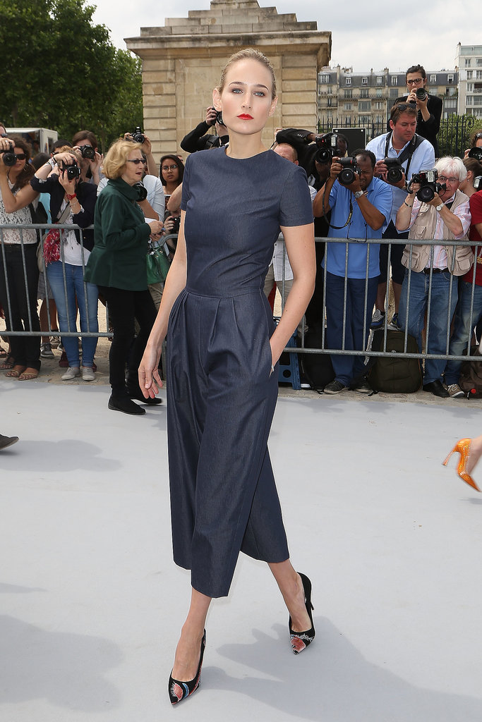 Leelee Sobieski in Denim Dior Jumpsuit