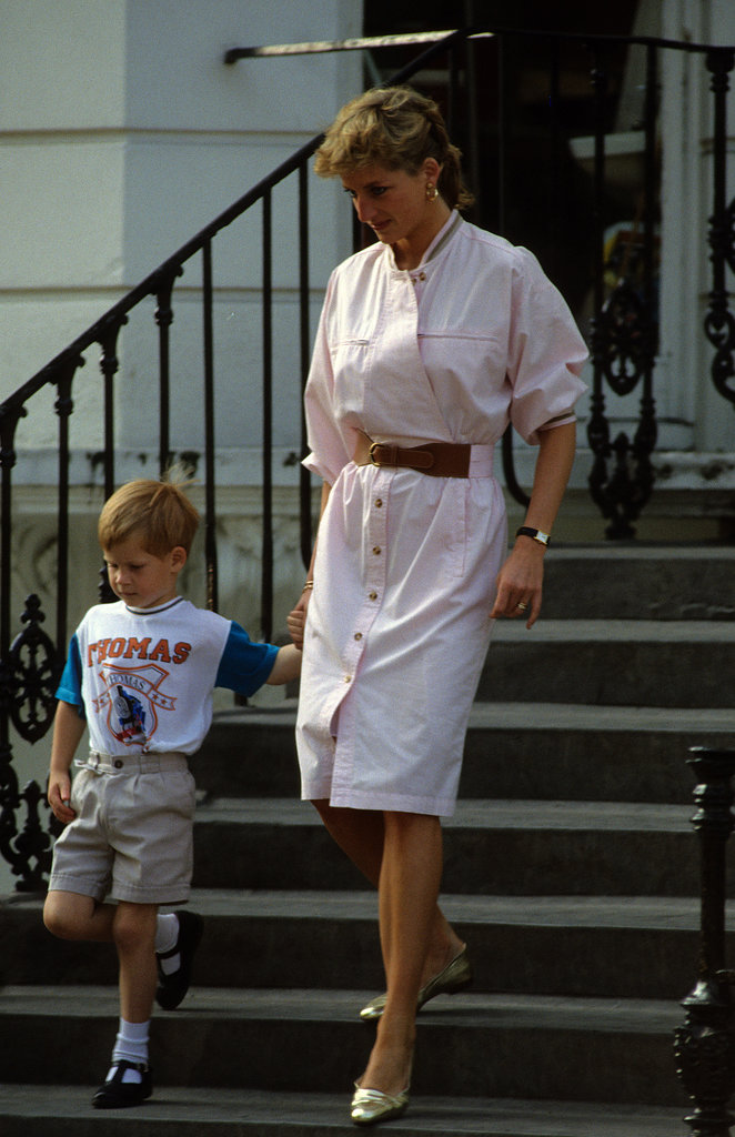 Princess Diana was in step with Prince Harry in London in June 1989.