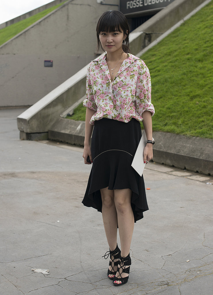 The high-low hemline felt sophisticated spotted in Paris. Rolled sleeves kept it from looking too formal.