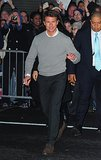 Tom Cruise greeted fans in NYC while stopping by The Late Show With David Letterman in Decemeber 2012.