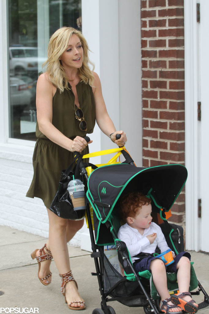 Jane Krakowski went for a stroll with her son, Bennett, in the Hamptons on Sunday.