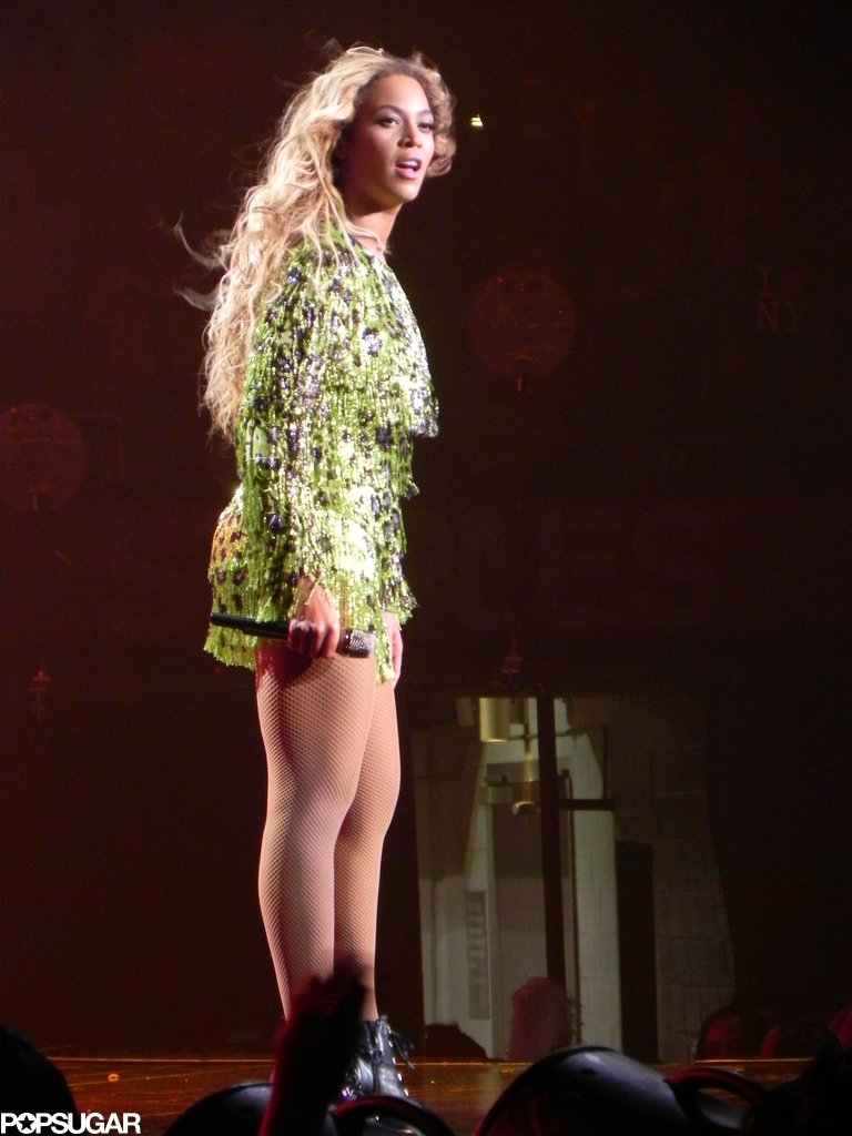 Beyoncé popped in her custom-made Emilio Pucci acid green, purple, and black leopard-print beaded dress while performing in LA.