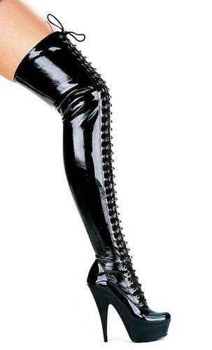 """Ellie Shoes E-609-Olivia, 6"""" Thigh High Boots-Satin-Boutique.com"""