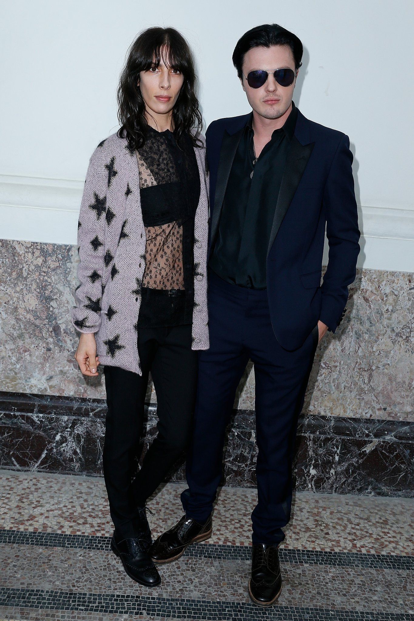 Outside the Saint Laurent menswear show, Jamie Bochert and Michael Pitt smoldered for the lens.  Source: Saint Laurent