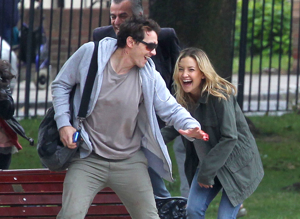 Kate Hudson and James Franco Cuddle and Kiss on Set