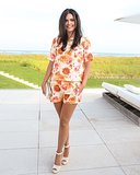 Katie Lee's floral ensemble got sweet with her white add-ons in NYC.