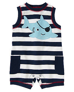 Gymboree's Pirate Shark Stripe One-Piece ($13, originally $25) is the absolute sweetest way for your baby to get into the shark spirit!