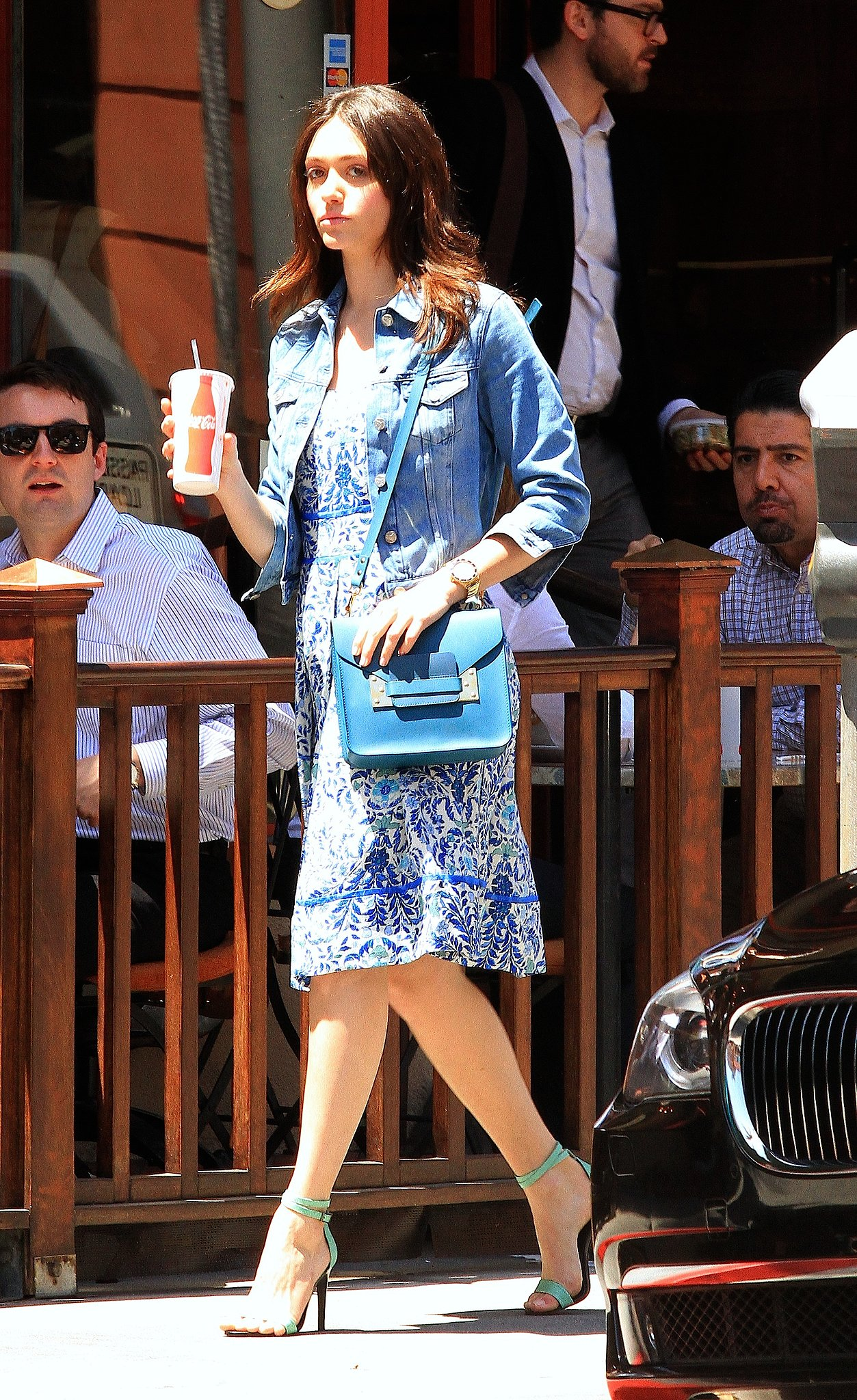 To give your sundresses a casual spin, just throw on a denim jacket like Emmy Rossum did with her Tory Burch printed dress.